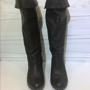 Zara trf Dark Brown Leather Tall Boots 38
